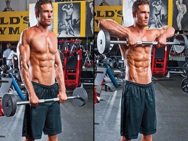 Как прокачать трапециевидную мышцу штангой